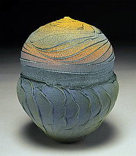 Blue Facets and Topography by Nicholas Bernard (Ceramic Vessel)