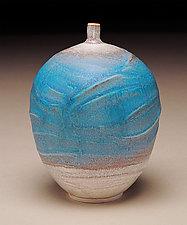 Blue and White Bottle by Nicholas Bernard (Ceramic Vase)