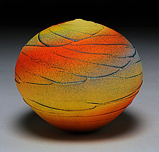Yellow Sunset Topography by Nicholas Bernard (Ceramic Vase)