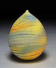 Yellow and Blue Teardrop by Nicholas Bernard (Ceramic Vase)