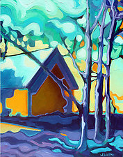 Sunset Wooded View by Jason Watts (Oil Painting)