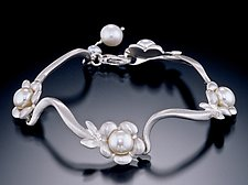 Flower Bracelet White Freshwater Pearls by Kathleen Lynagh (Silver & Pearl Bracelet)
