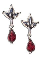 Garnet Leaf Drop Earrings by Kathleen Lynagh (Silver & Stone Earrings)