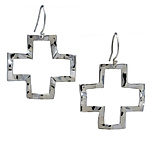 Wavy Cross Large Symbol Earring by Kathleen Lynagh (Silver Earrings)