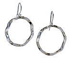 Wavy Circle Large Symbol Earrings by Kathleen Lynagh (Silver Earrings)