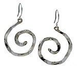 Wavy Spiral Large Symbol Earrings by Kathleen Lynagh (Silver Earrings)