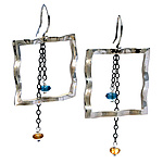 Wavy Large Square Earrings with Blue Topaz & Citrine by Kathleen Lynagh (Silver & Stone Earrings)