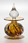 Twisted Square Rib Perfume Bottle: Sunshine by Michael Trimpol and Monique LaJeunesse (Art Glass Perfume Bottle)