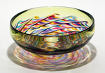 Optic Ribbed Bowl by Michael Trimpol and Monique LaJeunesse (Art Glass Bowl)
