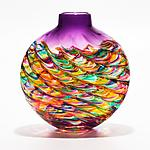 Flat Optic Rib Vase in Candy with Grape by Michael Trimpol and Monique LaJeunesse (Art Glass Vase)