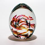 Medium Helix Weight and Facet in Summer by Michael Trimpol and Monique LaJeunesse (Art Glass Paperweight)