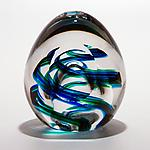 Medium Helix Weight and Facet in Ocean by Michael Trimpol and Monique LaJeunesse (Art Glass Paperweight)