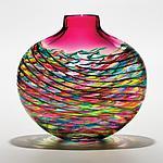 Cranberry Optic Rib Flat Vase by Michael Trimpol and Monique LaJeunesse (Art Glass Vase)