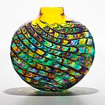 Optic Rib Flat Tiffany with Topaz by Michael Trimpol and Monique LaJeunesse (Art Glass Vase)