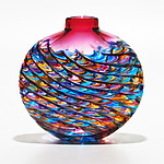Optic Rib Flat in Boca with Strawberry by Michael Trimpol and Monique LaJeunesse (Art Glass Vase)