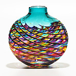 Optic Rib Flat in Jewel with Lagoon by Michael Trimpol and Monique LaJeunesse (Art Glass Vase)