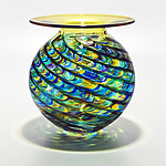 Optic Rib Flared Lip in Peacock with Topaz by Michael Trimpol and Monique LaJeunesse (Art Glass Vase)