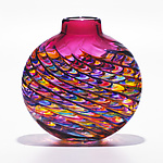 Optic Rib Flat Jewel with Strawberry by Michael Trimpol and Monique LaJeunesse (Art Glass Vase)