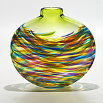Vortex Flat in Lime Mix with Lime by Michael Trimpol and Monique LaJeunesse (Art Glass Vase)