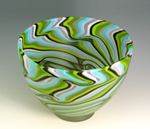 Turquoise Spring Green Smoke Bowl by Rene Culler (Art Glass Bowl)