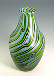 Turquoise Spring Green Onion by Rene Culler (Art Glass Vase)