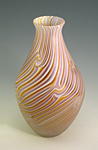 Ecru Lavender Onion Smoke by Rene Culler (Art Glass Vase)