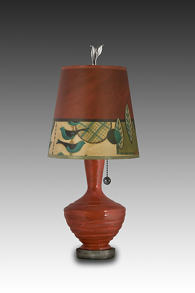 Red Ceramic Table Lamp with Small Drum Shade in New Capri