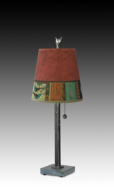 Steel Table Lamp with Small Drum Shade in Red Match