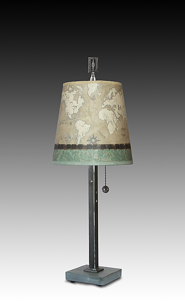 Steel Table Lamp with Small Drum Shade in Sand Map