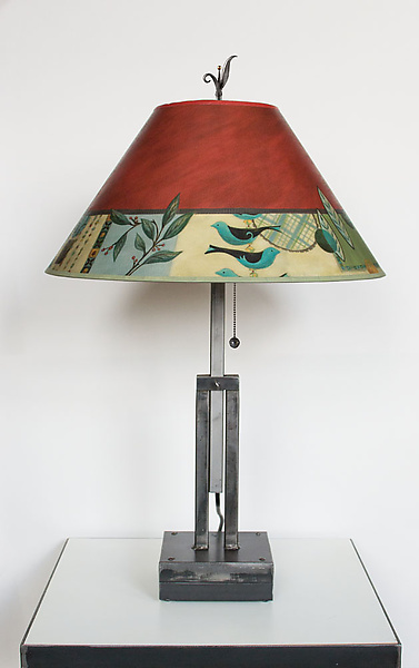 Adjustable Height Steel Table Lamp with Large Conical Shade in New Capri