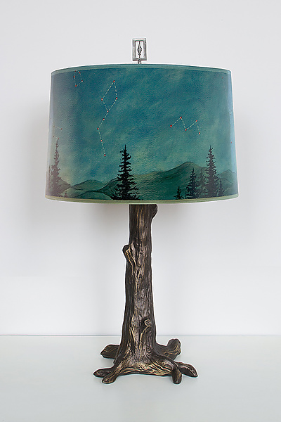 Bronze Tree Table Lamp with Large Drum Shade in Midnight Sky