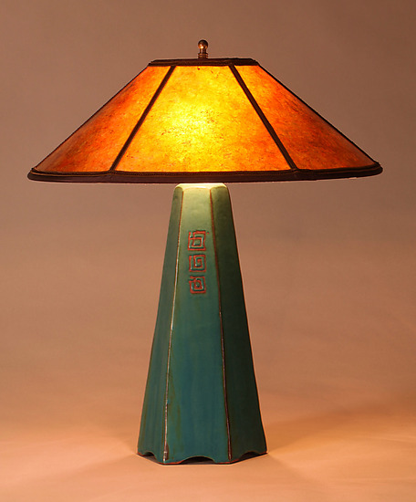 Six-Sided Lamp in Viridian with Freehand Design