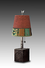 Steel Table Lamp on Wood with Small Drum Shade in Red Match by Janna Ugone (Mixed-Media Table Lamp)