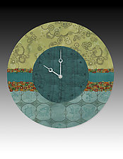 Paradise in Pool Wall Clock by Janna Ugone and Justin Thomas (Mixed-Media Clock)