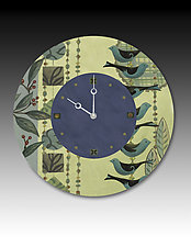 New Capri in Periwinkle Wall Clock by Janna Ugone and Justin Thomas (Wood Clock)