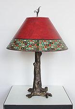 Mosaic Bronze Tree Table Lamp by Janna Ugone (Mixed-Media Table Lamp)