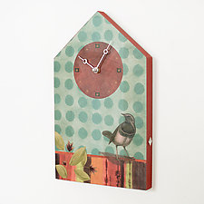 House Clock with Aqua Bird by Janna Ugone and Justin Thomas (Mixed-Media Clock)