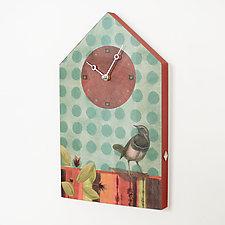 House Clock with Aqua Bird by Janna Ugone and Justin Thomas (Mixed-Media Clock)