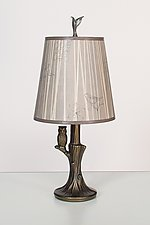 Bronze Owl Lamp with Small Drum Shade in Birch by Janna Ugone (Mixed-Media Table Lamp)