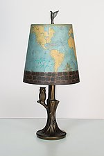 Bronze Owl Lamp with Small Drum Shade in Map by Janna Ugone (Mixed-Media Table Lamp)