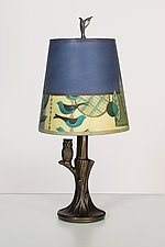 Bronze Owl Lamp with Small Drum Shade in New Capri Periwinkle by Janna Ugone (Mixed-Media Table Lamp)