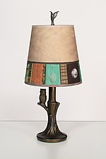 Bronze Owl Lamp with Small Drum Shade in Linen Match by Janna Ugone (Mixed-Media Table Lamp)