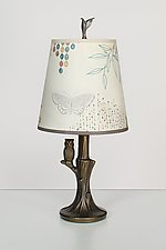 Bronze Owl Lamp with Small Drum Shade in Ecru Journey by Janna Ugone (Mixed-Media Table Lamp)