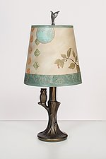 Bronze Owl Lamp with Small Drum Shade in Celestial Leaf by Janna Ugone (Mixed-Media Table Lamp)