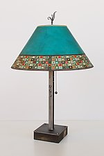 Steel Table Lamp on Wood with Large Conical Shade in Jade Mosaic by Janna Ugone (Mixed-Media Table Lamp)