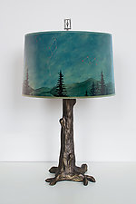 Bronze Tree Table Lamp with Large Drum Shade in Midnight Sky by Janna Ugone and Justin Thomas (Mixed-Media Table Lamp)
