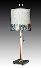 Copper Table Lamp with Medium Drum Shade in Papers Edge by Janna Ugone (Mixed-Media Table Lamp)