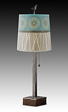 Steel Table Lamp on Wood with Medium Drum Shade in Pool by Janna Ugone (Mixed-Media Table Lamp)