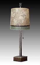 Steel Table Lamp on Wood with Medium Drum Shade in Sand Map by Janna Ugone (Mixed-Media Table Lamp)