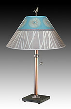 Copper Table Lamp with Large Conical Shade in Pool by Janna Ugone (Mixed-Media Table Lamp)